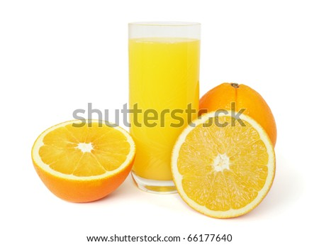 Orange juice isolated on white background