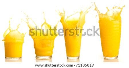 orange juice splash collection on a white background