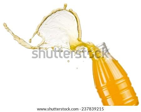 Orange juice splash from a plastic bottle - stock photo