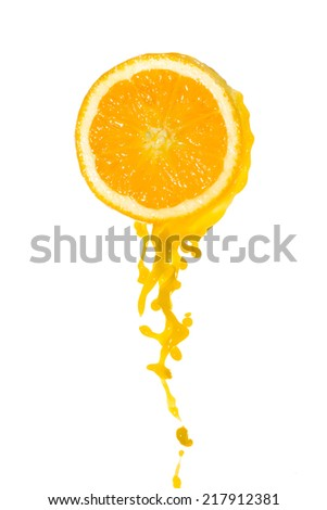 orange juice splash isolated on white background - stock photo