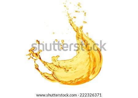 orange juice splash on white background - stock photo
