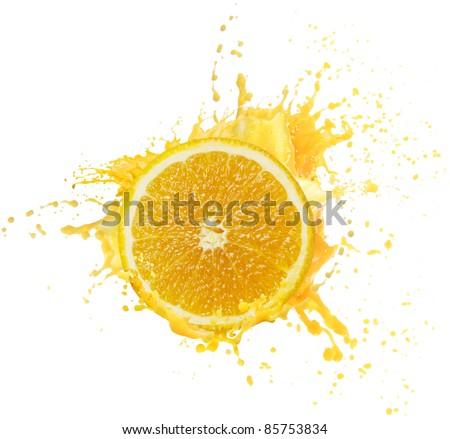 Orange juice splashing - stock photo