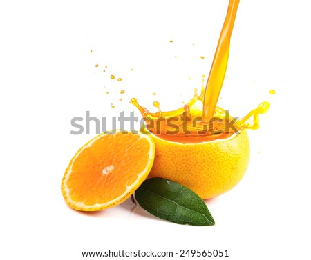 Orange juice splashing isolated on white - stock photo