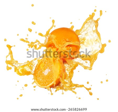 orange juice splashing with its fruits isolated on white - stock photo