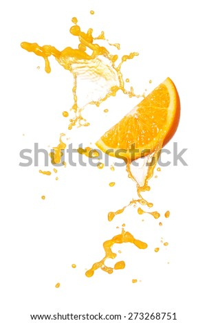 orange juice splashing with orange slice isolated on white - stock photo