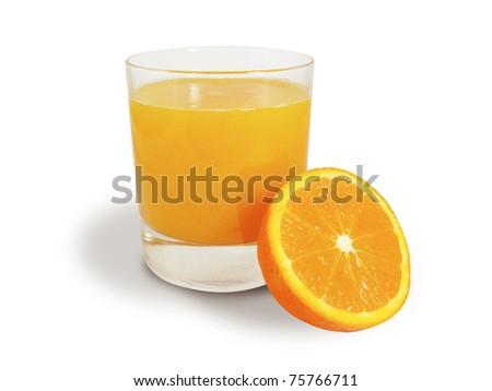 Orange juice with half oranges isolated - stock photo