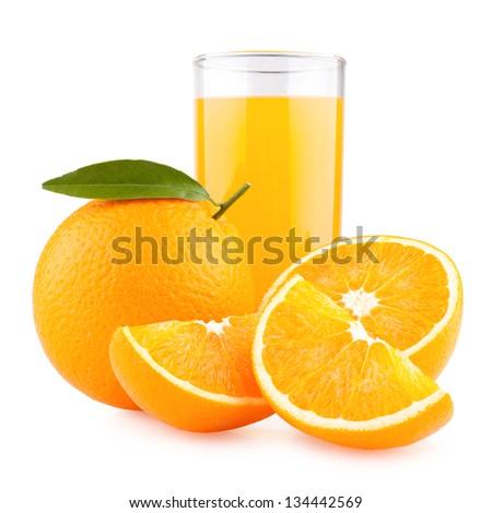 orange juice with oranges - stock photo