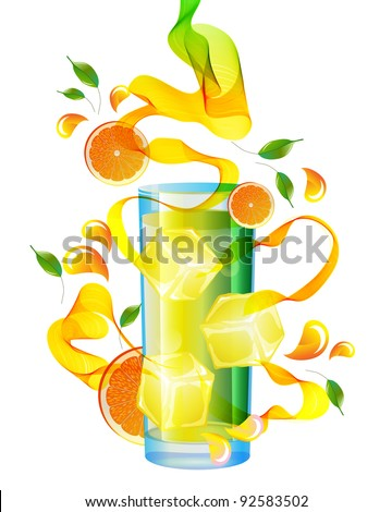 Orange juice with splash, abstract wave and leaves over white - stock photo
