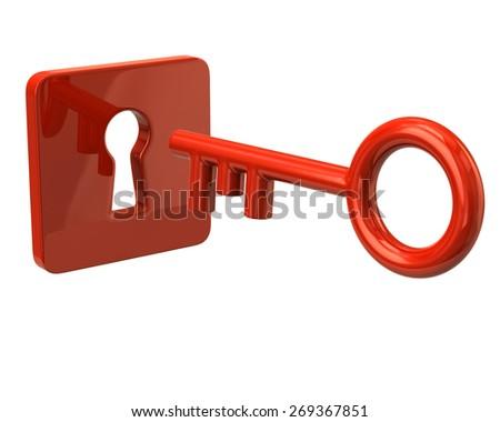 Orange key and keyhole - stock photo