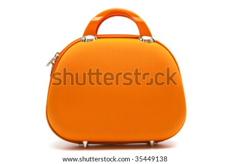 orange large handbag on a white background - stock photo