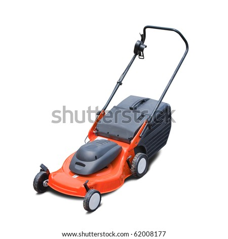 Orange lawn mower. Isolated over white background - stock photo
