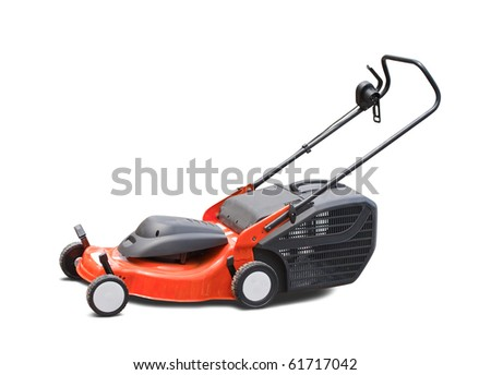 orange lawn mower. Isolated with clipping path - stock photo