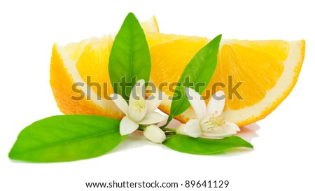 Orange, leaf,  flower and slice.  Isolated on a white background. - stock photo