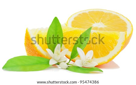 Orange, leaf, flower and slice  isolated on a white background. - stock photo