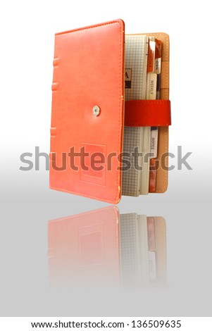 Orange leather book with reflect