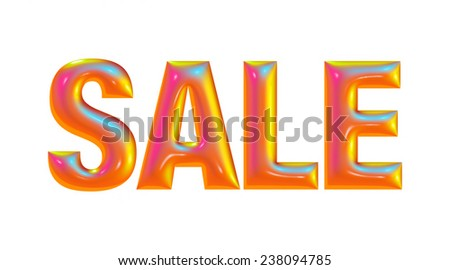 Orange letters Sale on the white background
