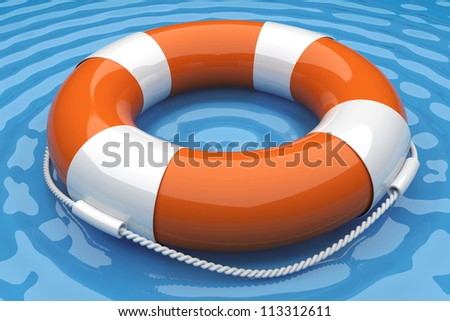 Orange life buoy in the water. 3d render illustration - stock photo