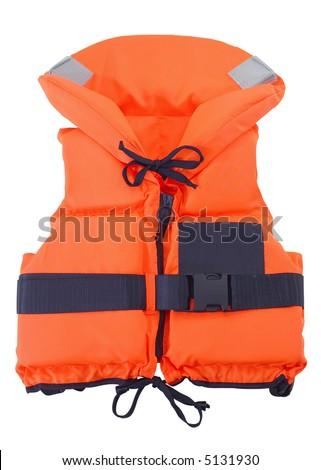 Orange Life Jacket - isolated on white - stock photo
