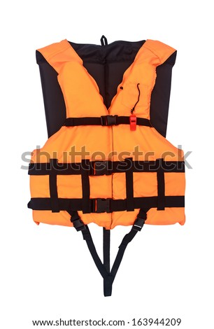 Orange Life Jacket  Isolated , with clipping path - stock photo