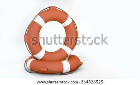 Orange Lifebuoy on white background  - stock photo