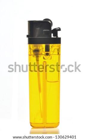 orange lighter isolated on a white background - stock photo