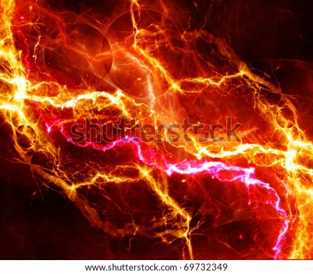 orange lightnings - stock photo