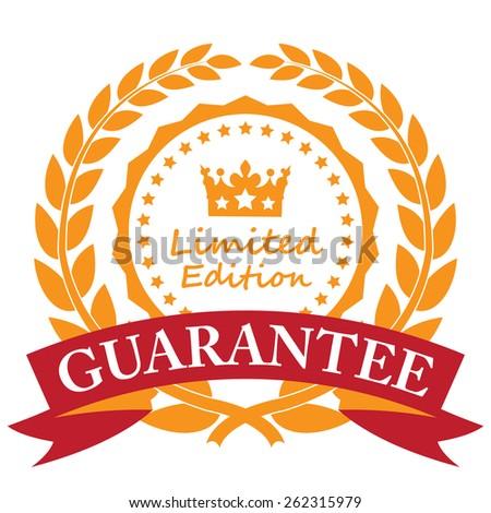 Orange Limited Edition Guarantee Wheat Laurel Wreath, Ribbon, Label, Sticker or Icon Isolated on White Background - stock photo