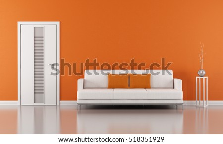 Orange living room with white door and modern sofa - 3D Rendering