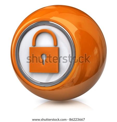 Orange lock icon - stock photo