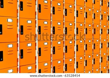 orange lockers - stock photo