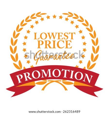 Orange Lowest Price Guarantee Promotion Wheat Laurel Wreath, Ribbon, Label, Sticker or Icon Isolated on White Background - stock photo