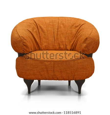 Orange Luxurious armchair, front view. - stock photo