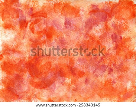Orange Magenta Stains Abstract Rusty Abstract Background - Watercolors on Paper - stock photo