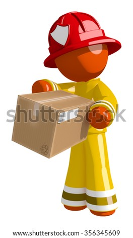Orange Man Firefighter Delivering Box - stock photo