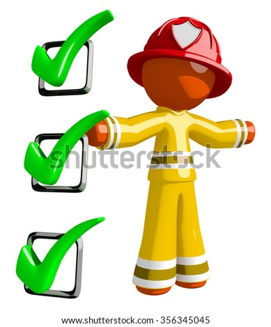 Orange Man Firefighter Safety Checklist Large Checkmarks - stock photo