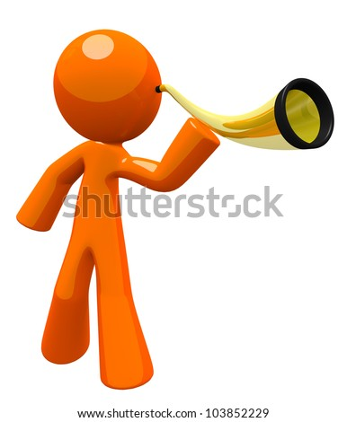 Orange man hard of hearing or deaf, using an ear trumpet to listen to something. Nice image for representing disabilities or just tuning in and listening better. - stock photo