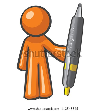 Orange Man holding a giant, over-sized pen. The pen is mightier, as can be plainly seen here. - stock photo