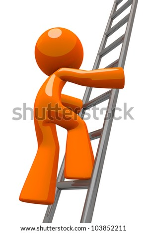 Orange man worker climbing an industrial ladder. Perhaps he is a painter, contractor, worker, or business owner. - stock photo