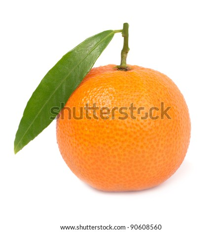 Orange mandarin with green leaf isolated on white background