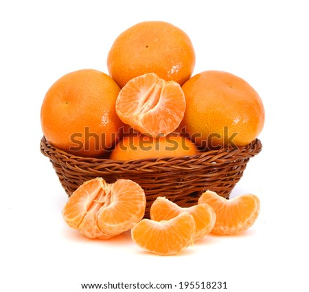 orange mandarines heap in wooden bowl  - stock photo