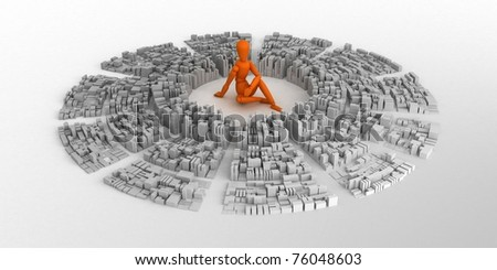 Orange mannequin and abstract city. - stock photo