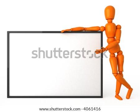 Orange mannequin with white billboard - stock photo