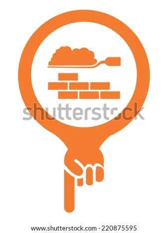 Orange Map Pointer Icon With Construction Materials Shop or Construction Service Sign Isolated on White Background  - stock photo