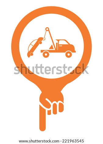 Orange Map Pointer Icon With Tow Car Service Sign Isolated on White Background  - stock photo