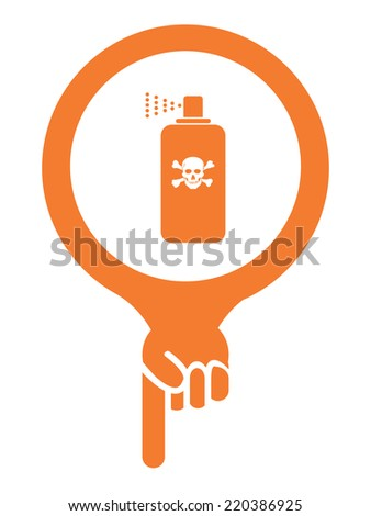 Orange Map Pointer Icon With Toxic Spray, Insecticide Spray, Pest Control Service Sign Isolated on White Background  - stock photo