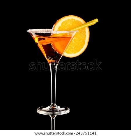 orange margareta fresh Cocktail isolated on black, studio - stock photo