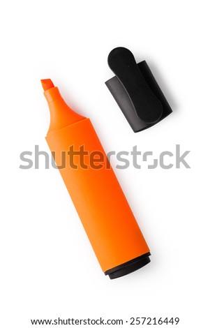 orange markers isolated on white background - stock photo