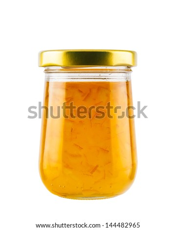 Orange marmalade jam isolated on white background - stock photo