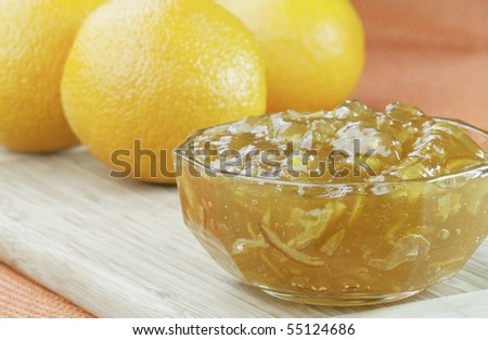Orange Marmalade with oranges - stock photo