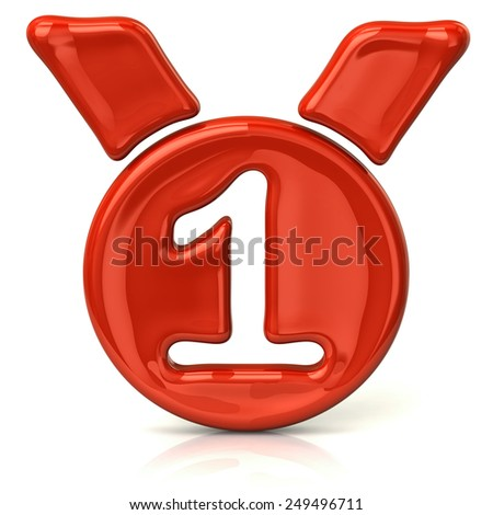 Orange medal icon on white background - stock photo